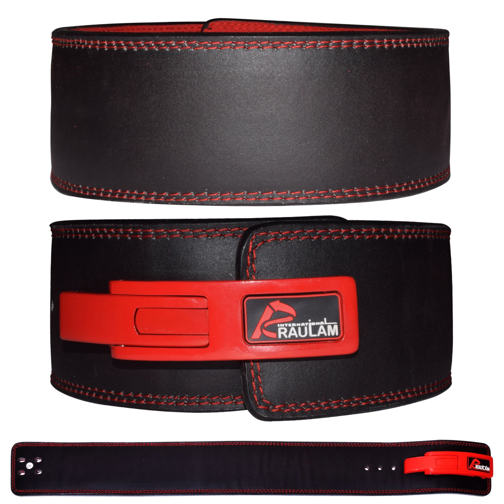 RAULAM INTERNATIONAL Lever Belt -Weight Lifting Lever Belt/Power Lifting Lever Belt/Buckle Belt (Black/Red, Small)