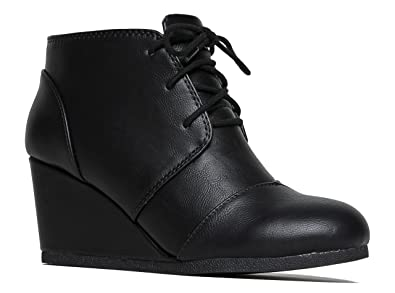 Amazon.com | Wedge Ankle Boot - Low Heel Bootie - Casual ...