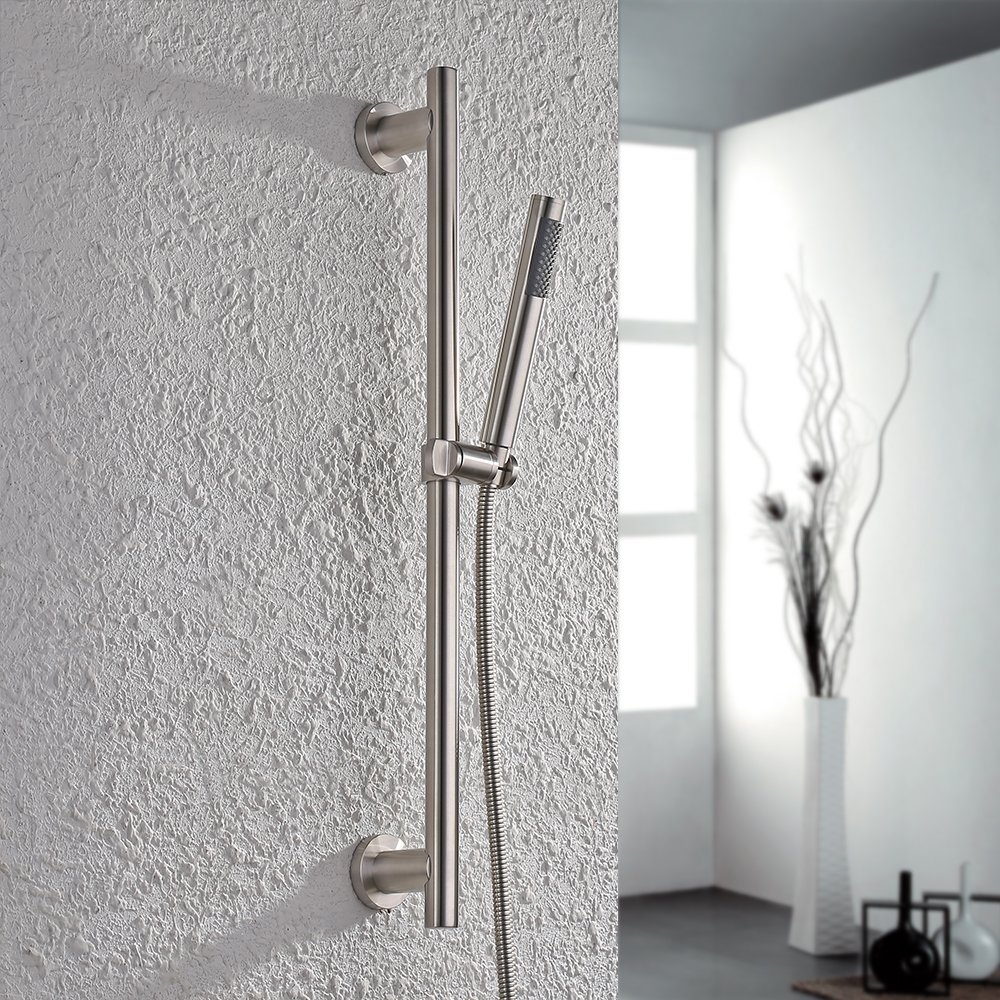KES ALL Metal SUS304 Stainless Steel Hand Shower Head with Adjustable Slide Bar, Brushed Finish, F205-2+KP150-2