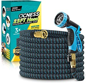 """Expandable Garden Hose, 25ft Lightweight Flexible Water Hose with 9 Function Spray Nozzle, 3/4"""" Solid Brass Fittings, Double Latex Core, Durable Fabric, Expanding Hose for Lawn Car Pet Washing"""