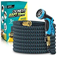 OCNESS Expandable Garden Hose, 25ft Lightweight Flexible Water Hose with 9 Function Spray Nozzle, 3/4″ Solid Brass Fittings, Double Latex Core, Durable Fabric, Expanding Hose for Lawn Car Pet Washing