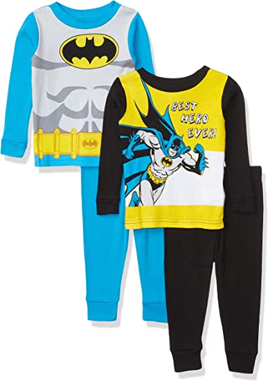 DC Comics Boys' Batman 4-Piece Cotton Pajama Set