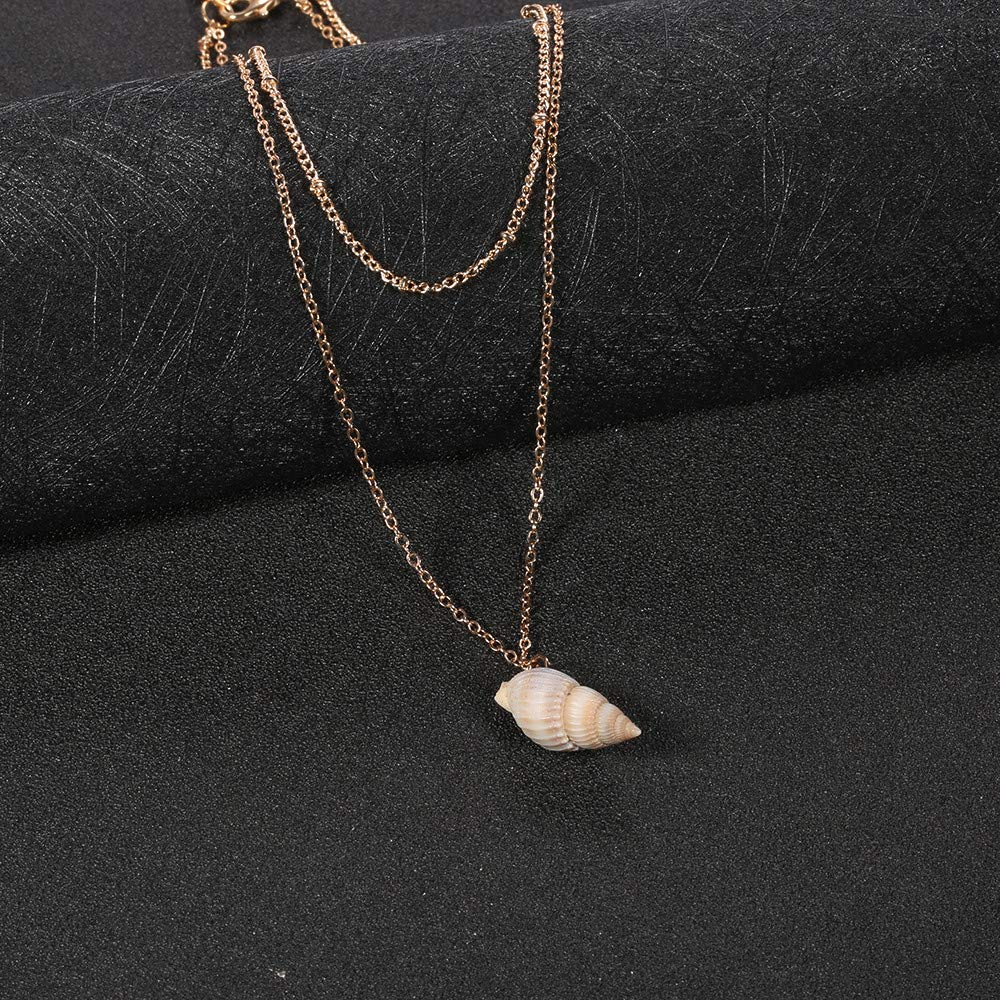 Double Layered Beach Boho Necklace,Haluoo Bohemian Handmade Natural Conch Pendant Necklace Fashion Beads Tassel Choker Necklace Gold Plated Sweater Chain Necklace for Women Girls