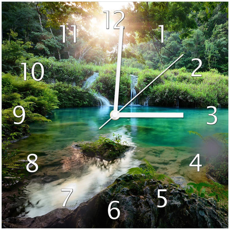 Wallario Glas-Uhr Echtglas Wanduhr Motivuhr • in Premium-Qualität • Größe  30x30cm • Motiv  Türkisgrüner See im Nationalpark in Guatemala