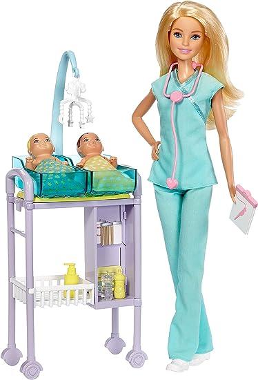 Barbie Playset Pediatra, Bambola con Capelli Biondi, Accessori a