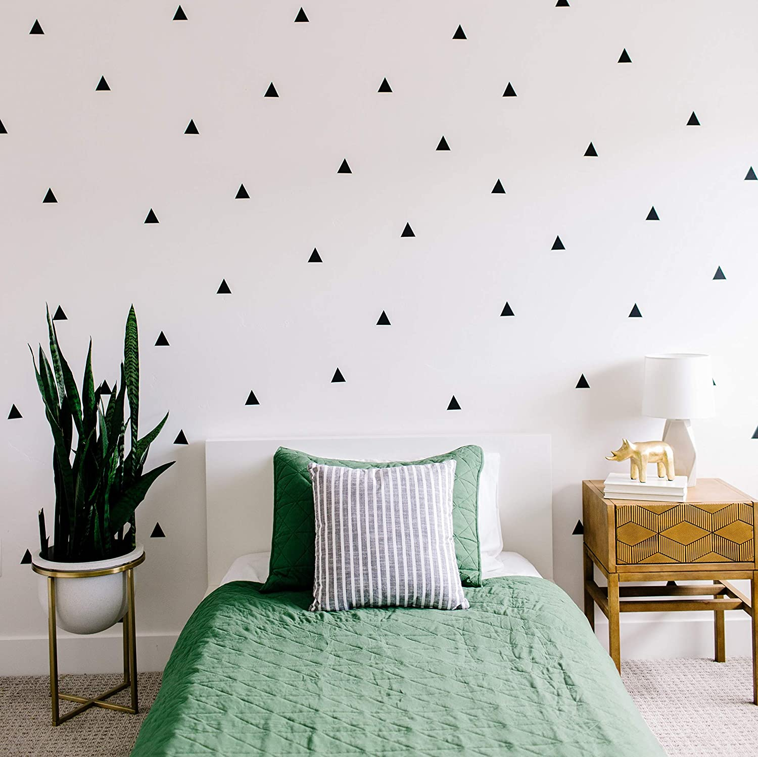 "Modern Maxwell Wall Art Decals for Boys Girls Nursery, Bedroom, Living Room ""Arizona"" Black Triangle Room Sticker 80 Pieces"