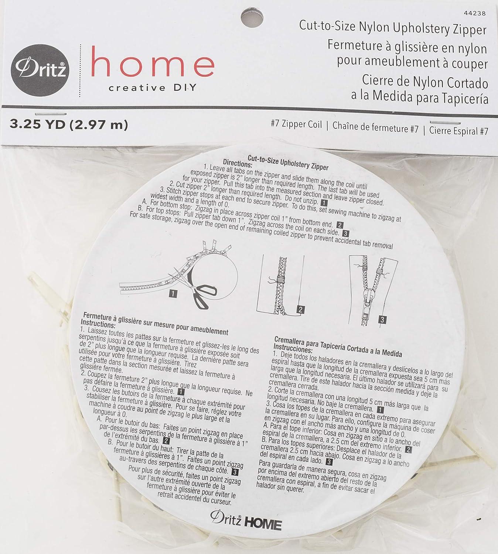 Cream Dritz 44238 Cut-to-Size Nylon Upholstery Zipper 3 Yards