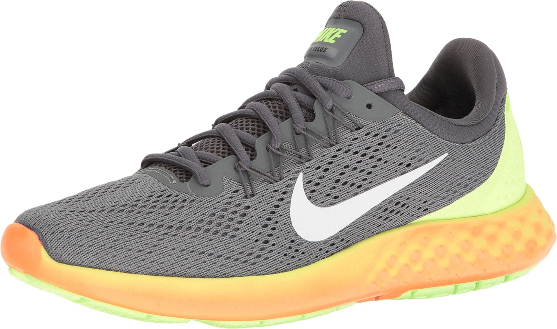 365495476f459 Nike Mens Lunar Skyelux Fabric Low Top Lace Up Running Sneaker, Grey, Size  8.5