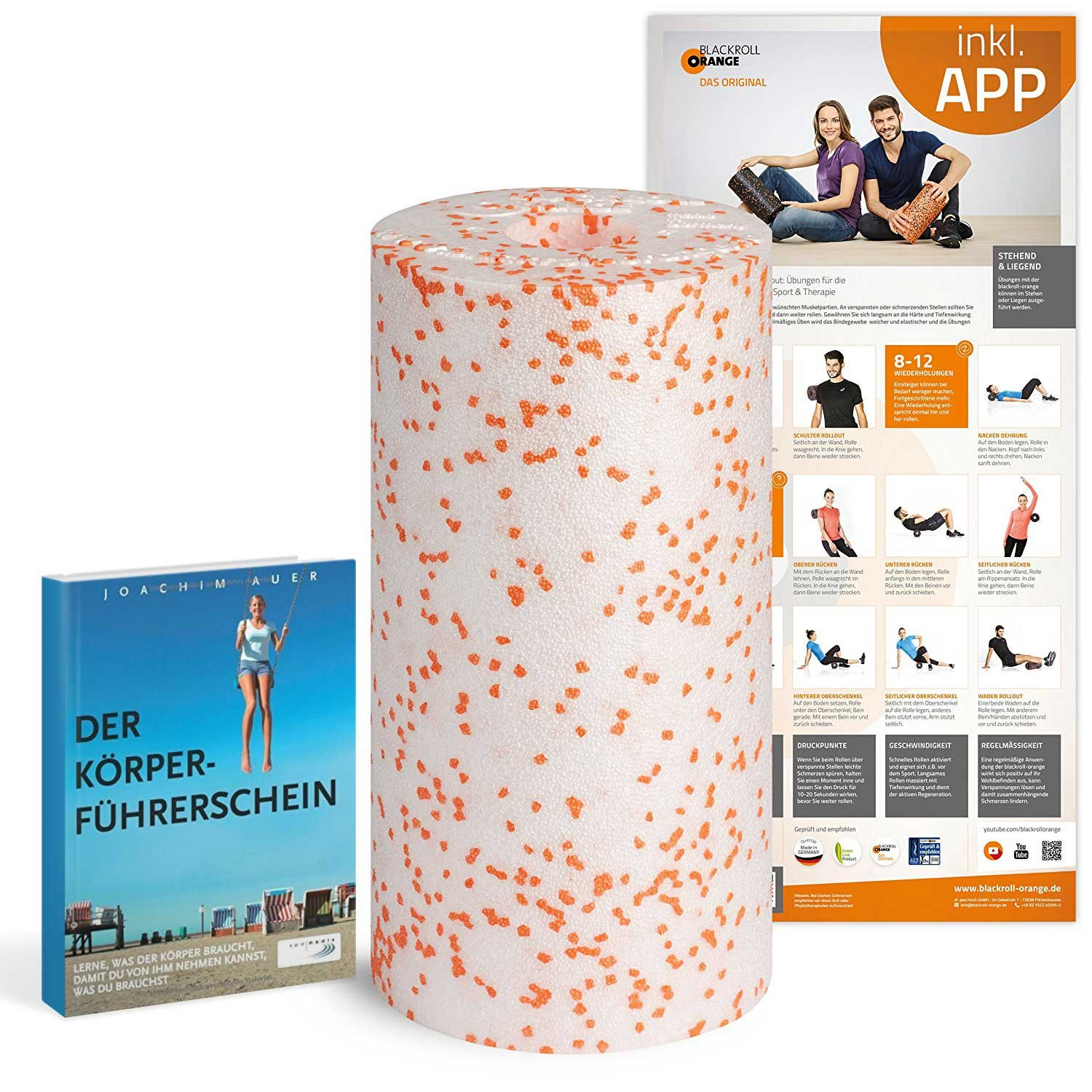 Schwarzroll-Orange Massagerolle Med Bundle, 30 cm