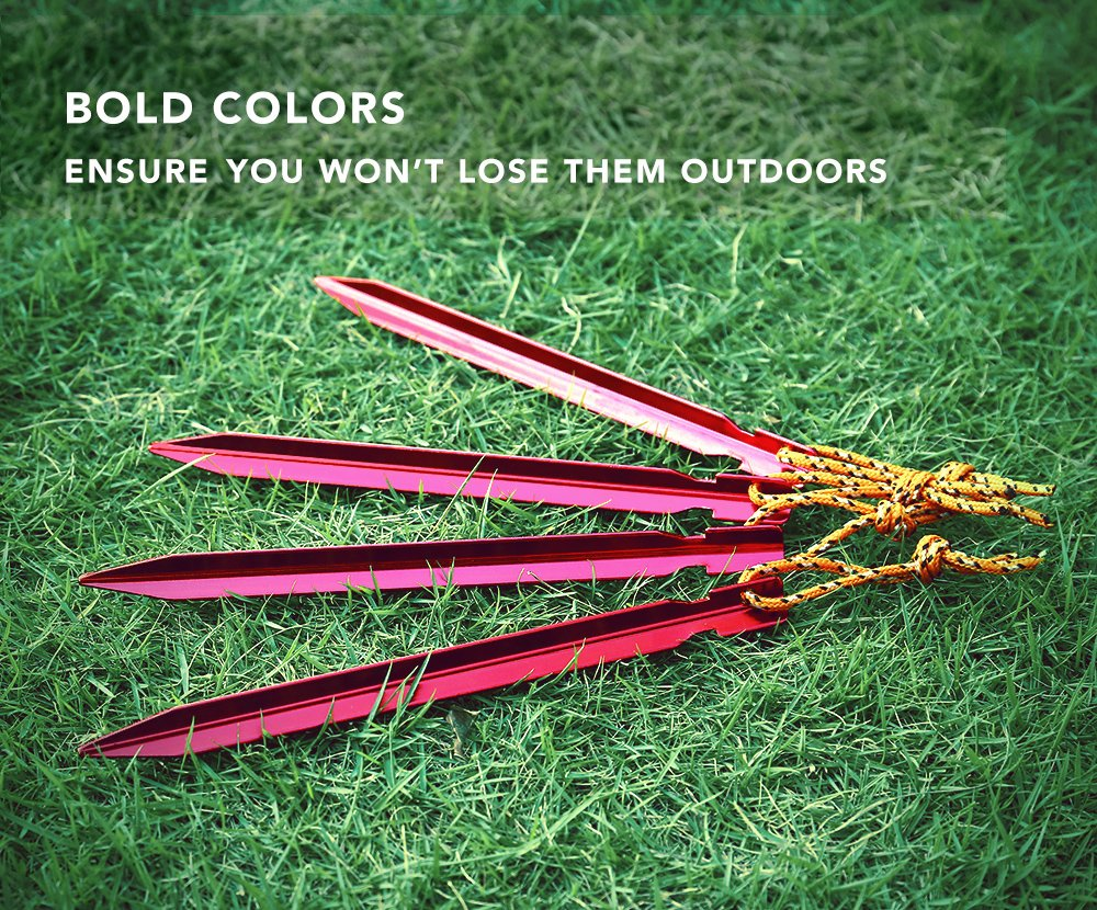 Terra Hiker TH0030-1 12 Unidades, 18 cm, con Cinta y Bolsa Color Dorado Clavos para Tienda de campa/ña