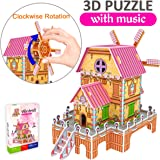 GBD 3D Jigsaw Puzzles for Kids Magic Windmill Music Box Dollhouse Castle Brain Model DIY Building Sets Educational Toys Creative Learning Games,Easter Day Birthday Gifts for Girls Boys-23 Pieces
