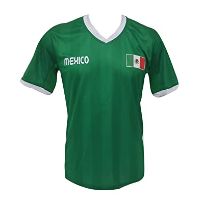 Mens Mexico Soccer Slim Fit Green Jersey V-Neck Shirt NWOT S,M,L,XL,XXL