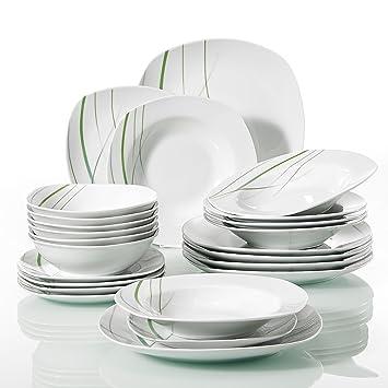 Veweet AVIVA 24pcs Service de Table Pocelaine 6pcs Assiettes Plates 24,6cm, 6pcs  Assiette cffd69b97b44
