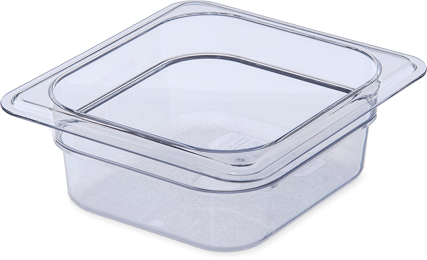"Carlisle 3068307 StorPlus Sixth Size Food Pan, Polycarbonate, 2.5"" Deep, Clear"