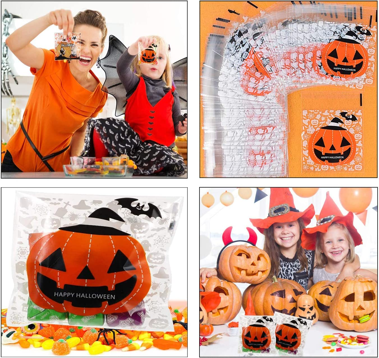 200 Piezas Halloween para Galletas Bolsas,4 Bolsas Dulces Autoadhesivas Diferentes Estilos,para Galletas Calabaza y dulces,Decoraci/ón Fiestas Bolsa