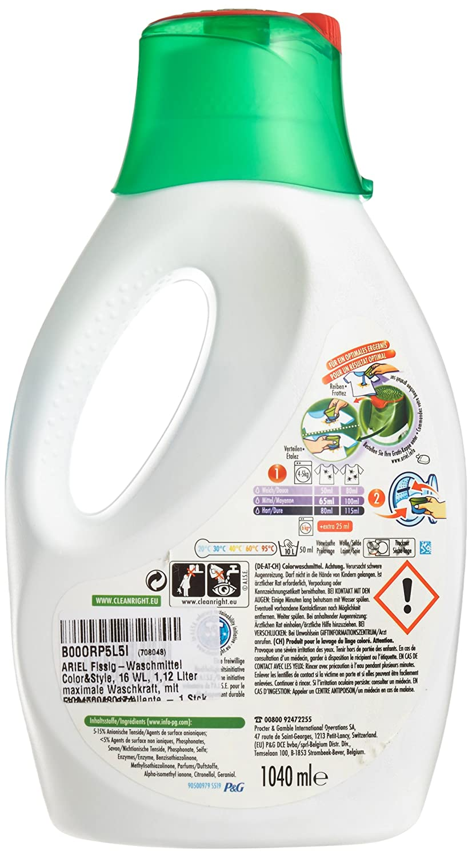 Ariel Detergente de líquido Color & Style, 16 WL, 1,12 L ...