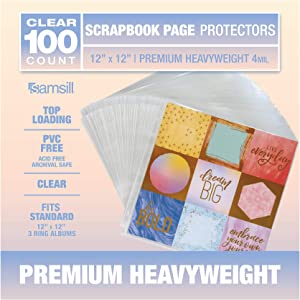 Samsill 100 Count 12x12 Scrapbook Refill Page Protectors, Premium Heavyweight, Used with 3 Ring 12 x 12 Scrapbooking Album, Clear and Archival Safe