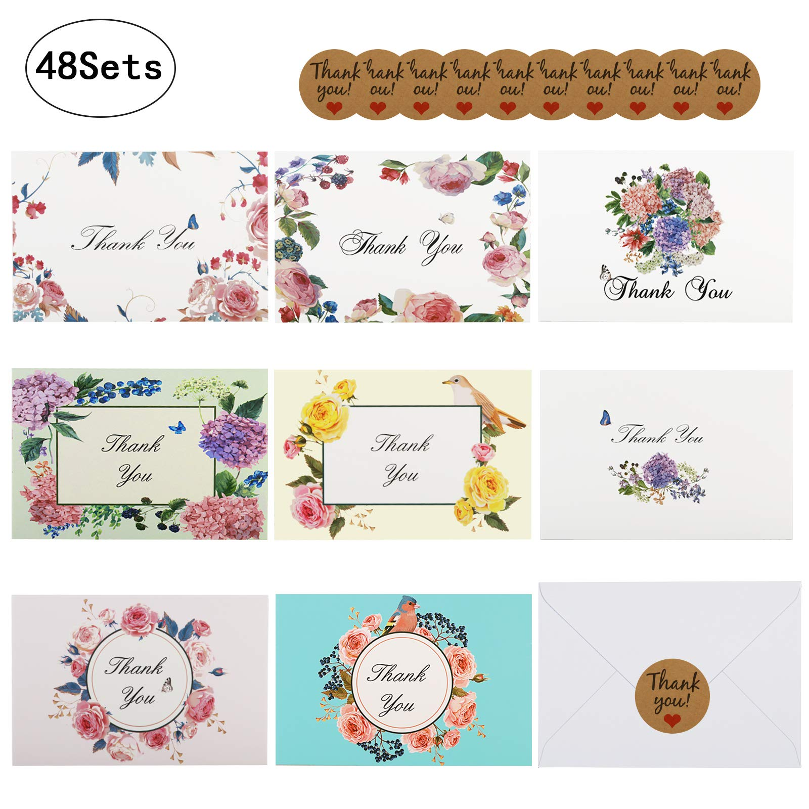 Thank You Cards - LANMOK Floral Flower Greeting Cards Notes for Birthdays,Wedding,Baby Shower,Bussiness,Graduation,Parties,Anniversary - 48 Sets with Envelopes and Self-Adhesive Sealing Stickers