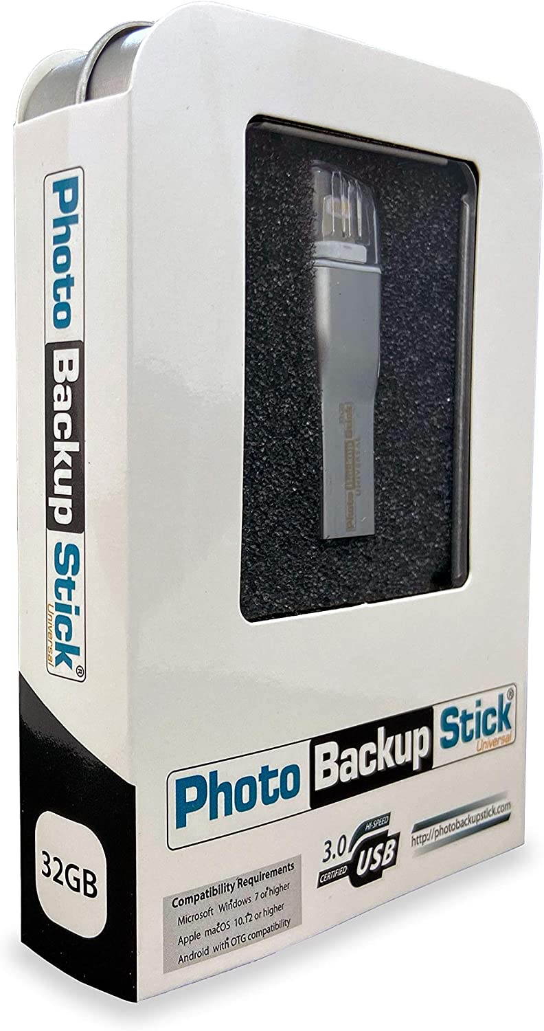 Photo Backup Stick Universal for Windows & Mac Computers, iPhones, iPads, and Androids (32GB)