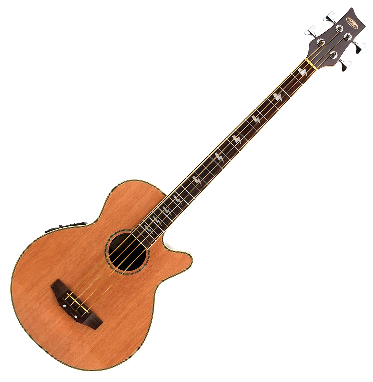 Classic Cantabile AB-40 Akustik Bass Natur (Bassgitarre mit Pickup/Tonabnehmer, 3-Band-Equalizer, aus Palisander und Fichte) 00020810