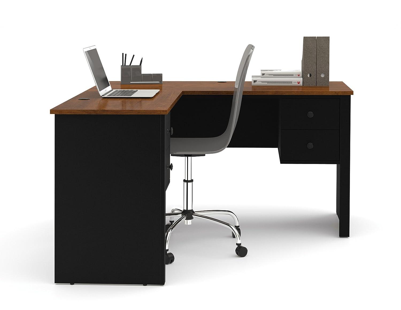 amazoncom bestar somerville lshaped desk black and tuscany brown kitchen u0026 dining