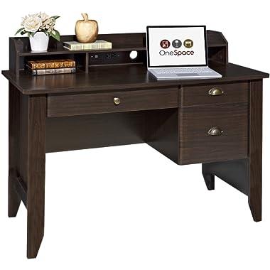OneSpace 50-1617 Executive Desk with Hutch Espresso