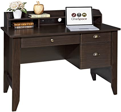 Charmant OneSpace Executive Desk With Hutch, USB And Charger Hub, Wood Grain Espresso