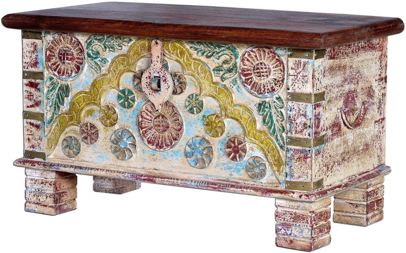 GINER Y COLOMER Baúles Decorativos - Baúl Madera Blanco Rozado/Bronce (45x80x40): Amazon.es: Hogar
