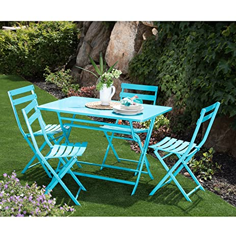 supernova 5 piece steel rectangular patio foldable bistro set outdoor furniture table and chair