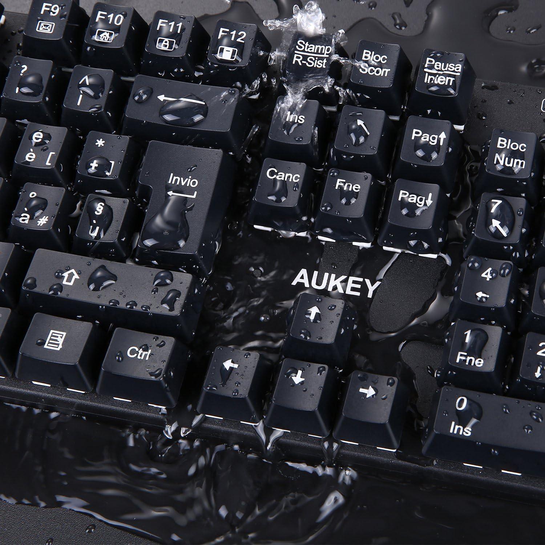 AUKEY teclado mecánica con Switches Azul 105 teclas Anti-Ghosting (Layout italiano) impermeable teclado Gaming con keycap Puller para jugadores PC y ...
