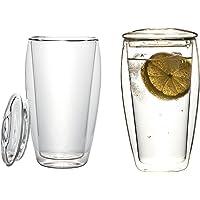 2 x 400 ml szklanki termiczne XL o podwójnych ściankach ze szklaną pokrywką (szkło termiczne z efektem unoszenia…