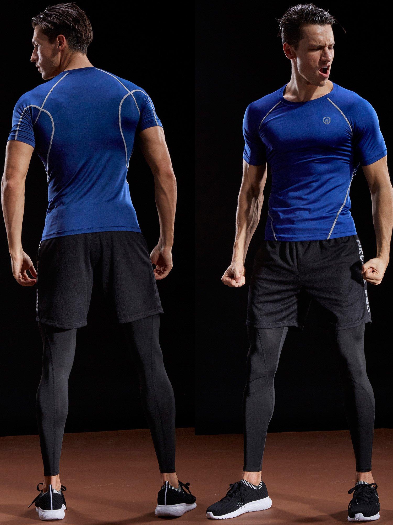 Neleus Men's 3 Pack Compression Baselayer Athletic Workout T Shirts,5022,Black,Grey,Red,S,EU M by Neleus (Image #2)