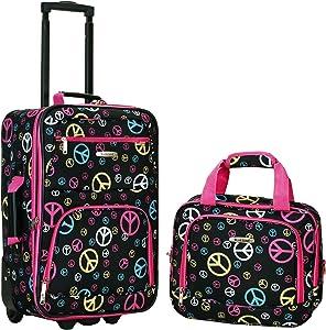 Rockland Luggage 2 Piece Printed Luggage Set, Peace, Medium