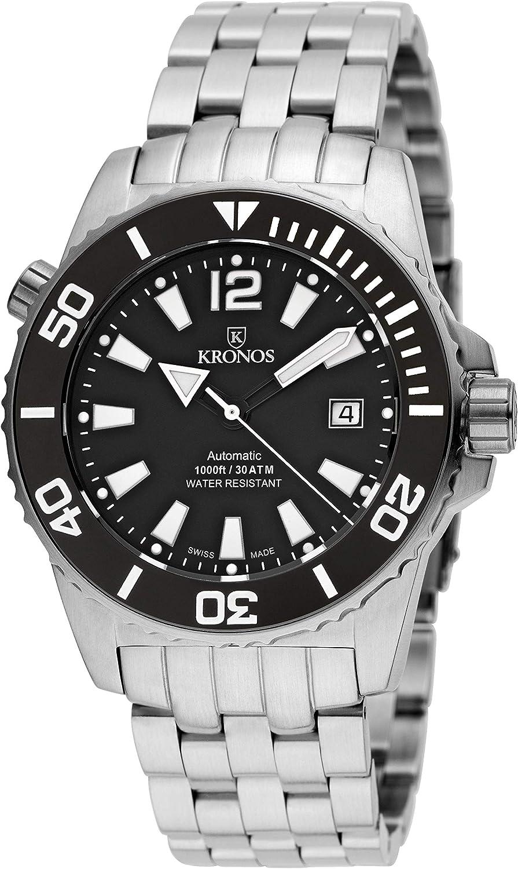 KRONOS - K300 Automatic Ceramic Black&White 736N.8.55W - Reloj Diver de Caballero automático, Brazalete de Acero, Color Esfera: Negra