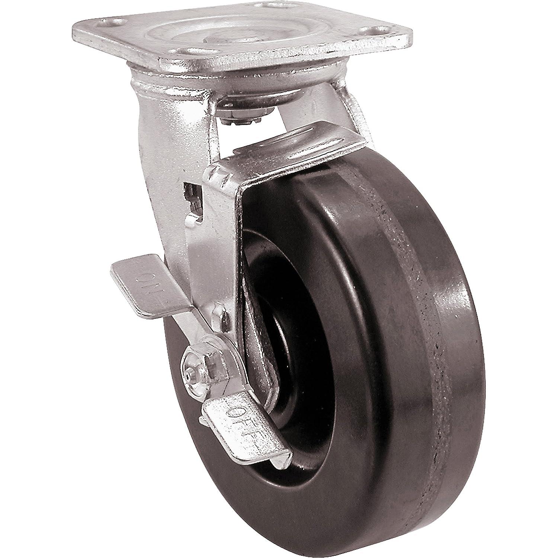 Shepherd Hardware 9779 4-Inch Phenolic Rubber Swivel Plate Caster with Brake, 500 Pound Load Capacity