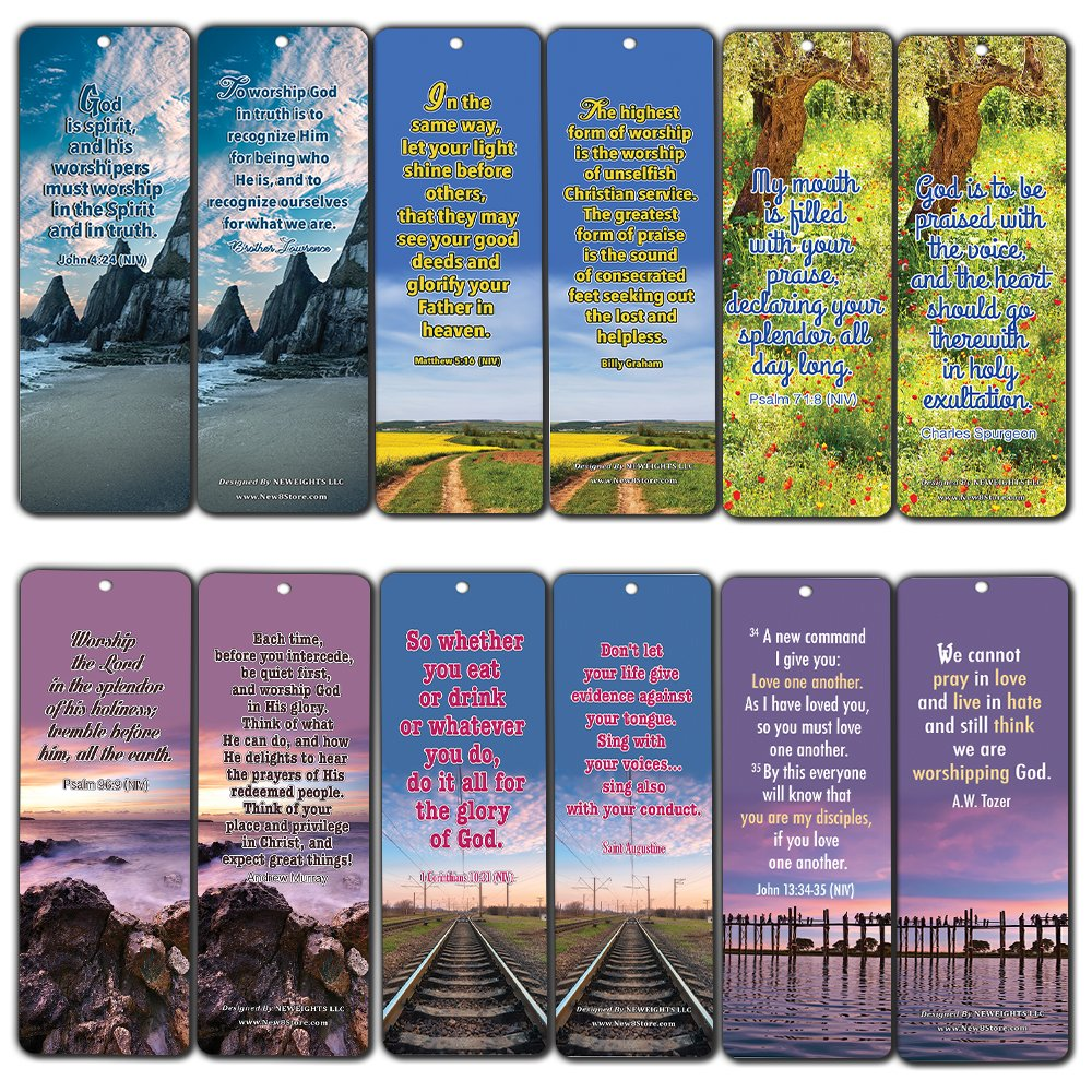 30-Pack Worship Bible Verses Bookmarks