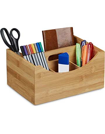 Relaxdays bambú Organizador de Escritorio, Soporte para el lápiz, 4 Compartimentos, asa,