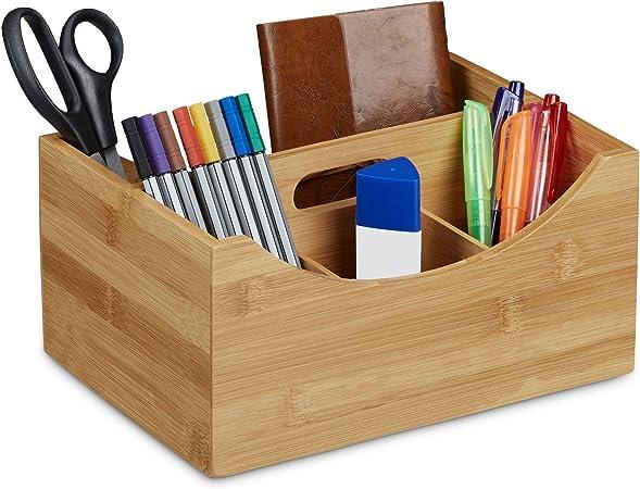 nature 9 x 13 x 16 cm Relaxdays Organiseur de bureau bambou distributeur de bureau porte-stylos bo/îte HxlxP