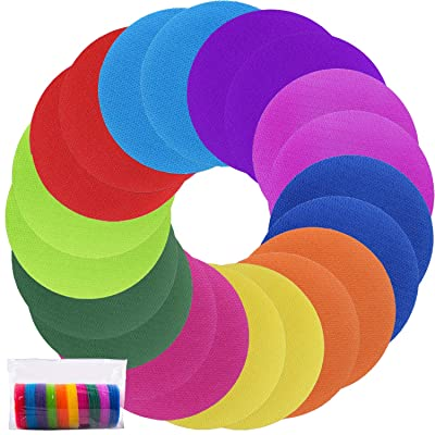 Duufin 100 Pieces Carpet Spots Hook and Loop Circles Carpet Markers Sitting Spots Sitcky Carpet Spots Markers for Classroom, 4 Inches, 10 Colors: Toys & Games