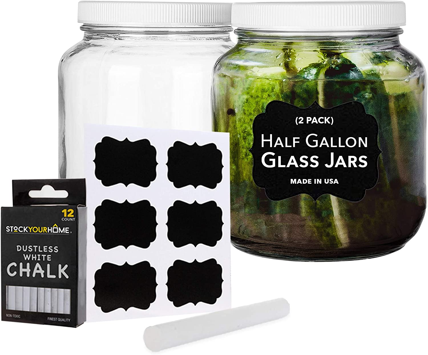 64 Oz Glass Jar with Plastic Airtight Lid (2 Pack) - Includes 6 Chalkboard Labels & 12 Pieces of Dustless Chalk - Half Gallon Glass Jar for pickling, fermentation, brewing, food storage