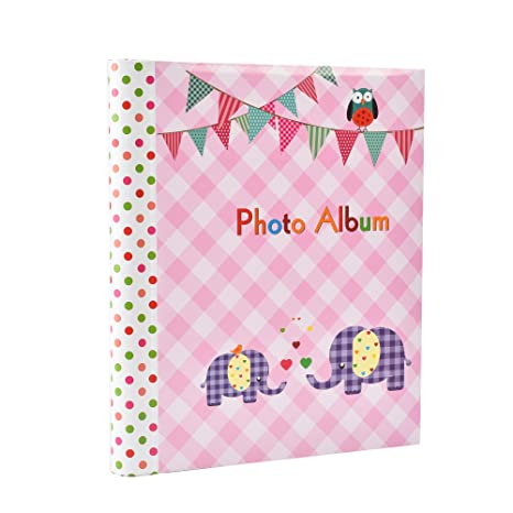 Large Baby Girl Pink Self Adhesive 20 Sheets 40 Sides Photo Album Elephant Kids Ideal Gift Picture Album Pink