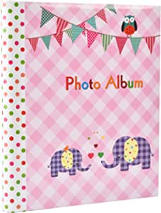 Large Baby Girl Pink Self-Adhesive 20/Sheets, 40/Sides Photo Album -Elephant Kids Ideal Gift Picture Album (Pink)