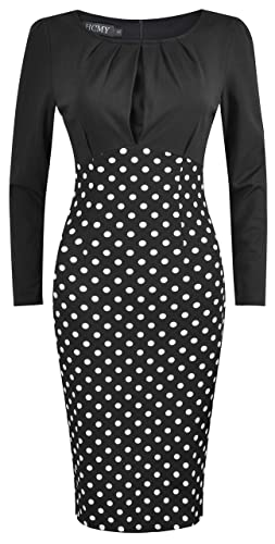 HCMY Work Dresses for Women Dot Slim Party Pencil Casual Office Midi Long Sleeve Dress