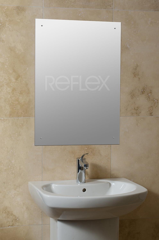 bathroom mirror chrome. 70 X 50cm Rectangle Bathroom Mirror With Drilled Holes \u0026 Chrome Cap Wall Hanging Fixing Kit: Amazon.co.uk: Kitchen Home B