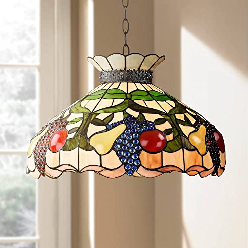 Ripe Fruit Bronze Tiffany Pendant Chandelier 20 Wide Stained Glass Shade 3-Light Fixture for Dining Room House Foyer Kitchen Island Entryway Bedroom Living Room – Robert Louis Tiffany