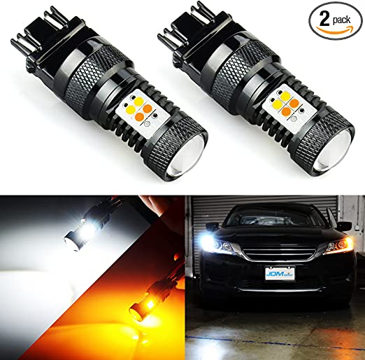 SIRIUSLED Super Bright White and Amber Switchback 3030 Chipset SMD LED Bulbs with Projector for Car Turn Signal Lights DRL 3157 3157A 3155 3457 4157
