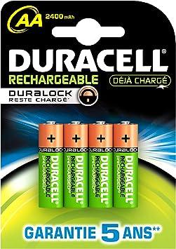 Duracell Duralock - Pack de pilas recargables (2400 mAh, 1.2 V, 4 ...
