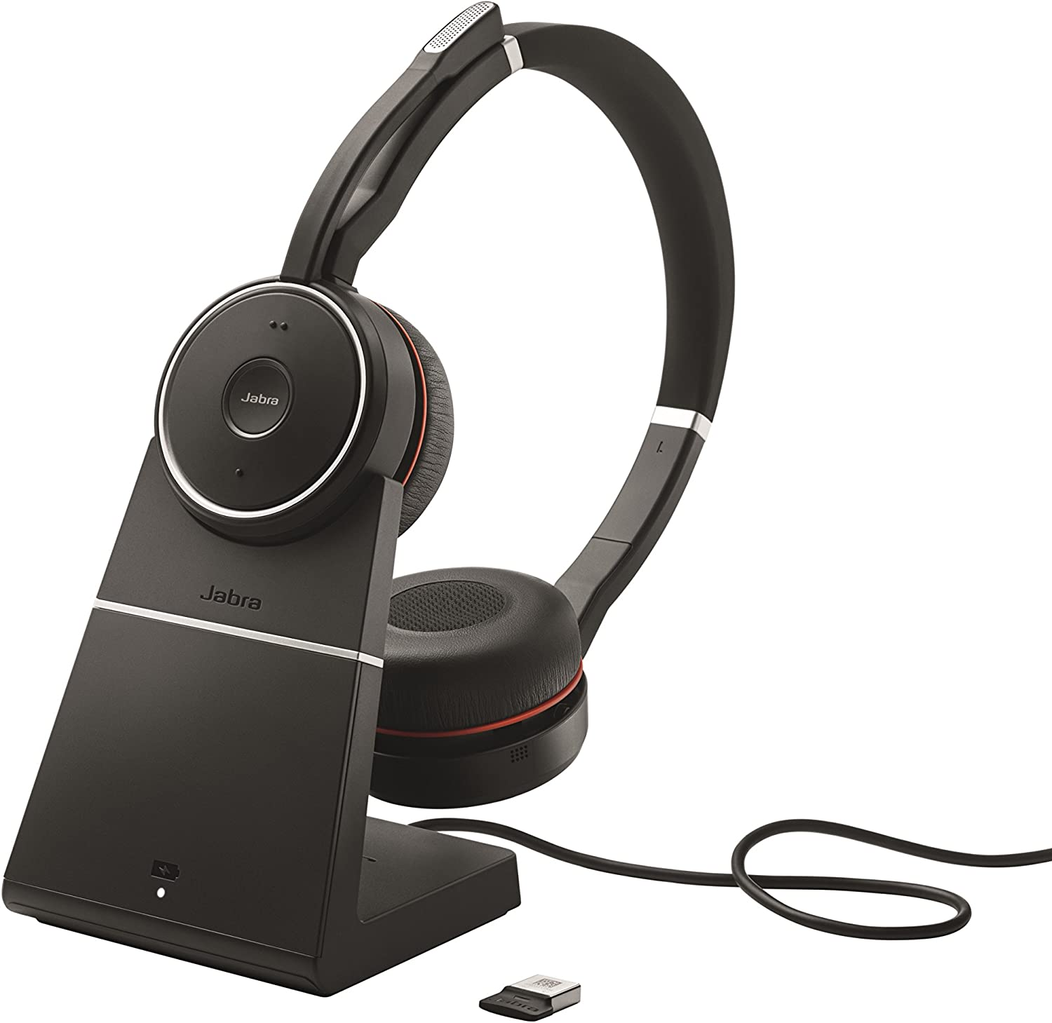Amazon Com Jabra Evolve 75 Uc Wireless Headset Stereo Includes Link 370 Usb Adapter And Charging Stand Bluetooth Headset With World Class Speakers Active Noise Cancelling Microphone All Day Battery
