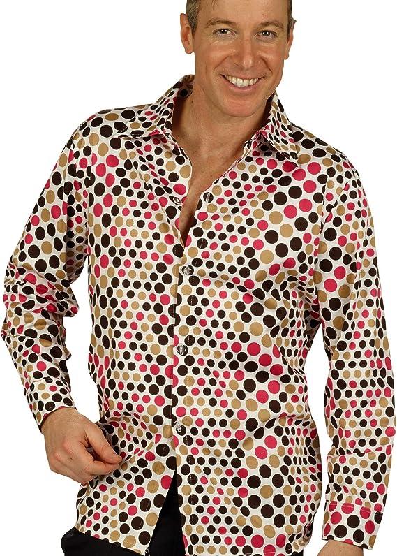 Camisa disco de los años 70 - camisa de hombre, complemento de disfraz retro, para fiesta setentera, para carnaval o fiestas de disfraces - 58/60: Amazon.es: Juguetes y juegos