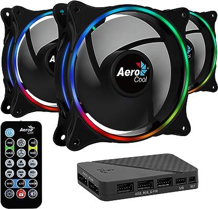 Aerocool ECLIPSE, 3 ventiladores, iluminación RGB, aspas curvas ...